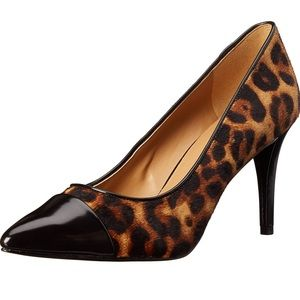 Nine West Pano Leopard Piny Hair Pointed Heels